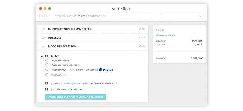 Conditions de commande Prestashop